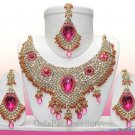 Indian Costume Bridal Jewellery Crescent Necklace Set 001 Magenta