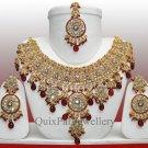 Indian Jewellery Party Wear Gole Tikla Necklace Set 806 Maroon