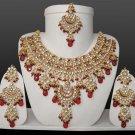 Indian Costume Jewelry Mina Patti Necklace Set 805 Maroon