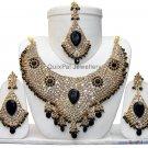 Indian Costume Bridal Jewellery Crescent Necklace Set 001 Black