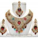 Indian Costume Bridal Jewellery Crescent Necklace Set 001 Multi