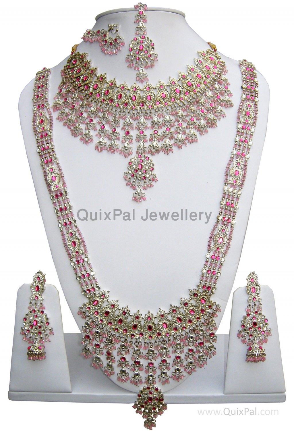 Slivery Pink Indian Costume Jewelry Dulhan Set 709