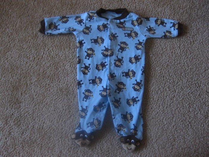 Monkey Pajamas Blue/Brown Carter's 0-3 months