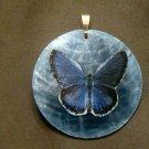 Blue on Blue Butterfly Pendant