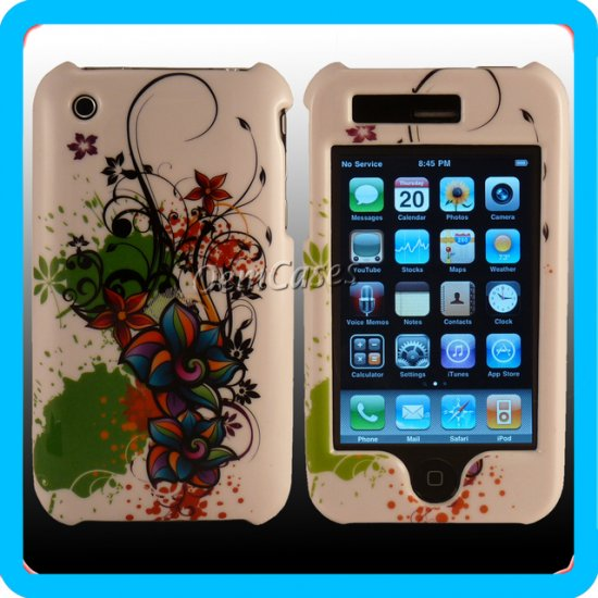 White Designer Case Duo Hard Cover iPhone 3G 3GS ~USA~