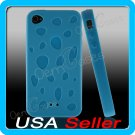 Blue Designer Silicone Bumper Case Cover iPhone 4 4G