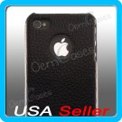 Genuine Leather Case Hard Cover Black for Apple iPhone 4 4G