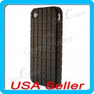 Black Designer Silicone Waffle Case Cover Apple iPhone 4 4G