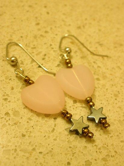 Cute Pink Heart and Hematite Star Earrings