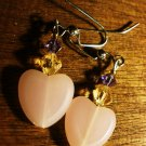 Cute Pink Heart Earrings with Swarovski Element Bead