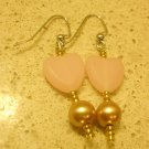 Cute Pink Heart with Hematite Star & Pearl Earrings Lollipop Style