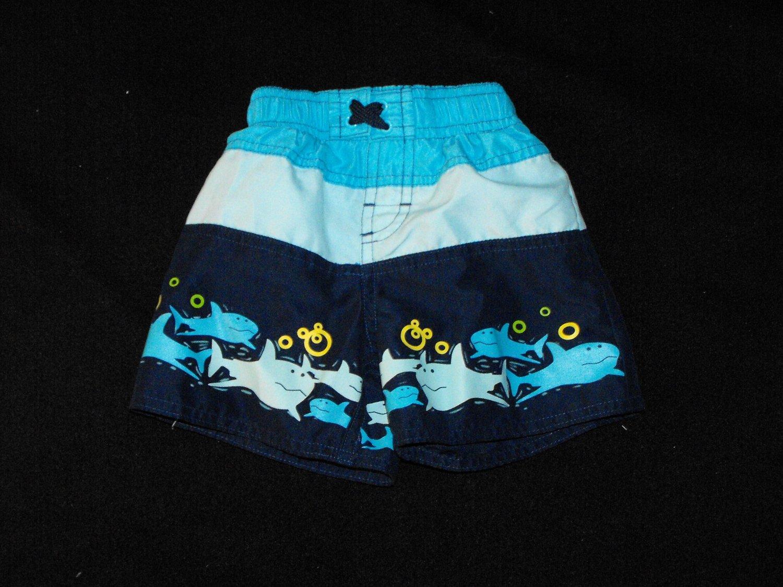 *SOLD~Baby Boys 12 Months Shark Print Swim Trunks