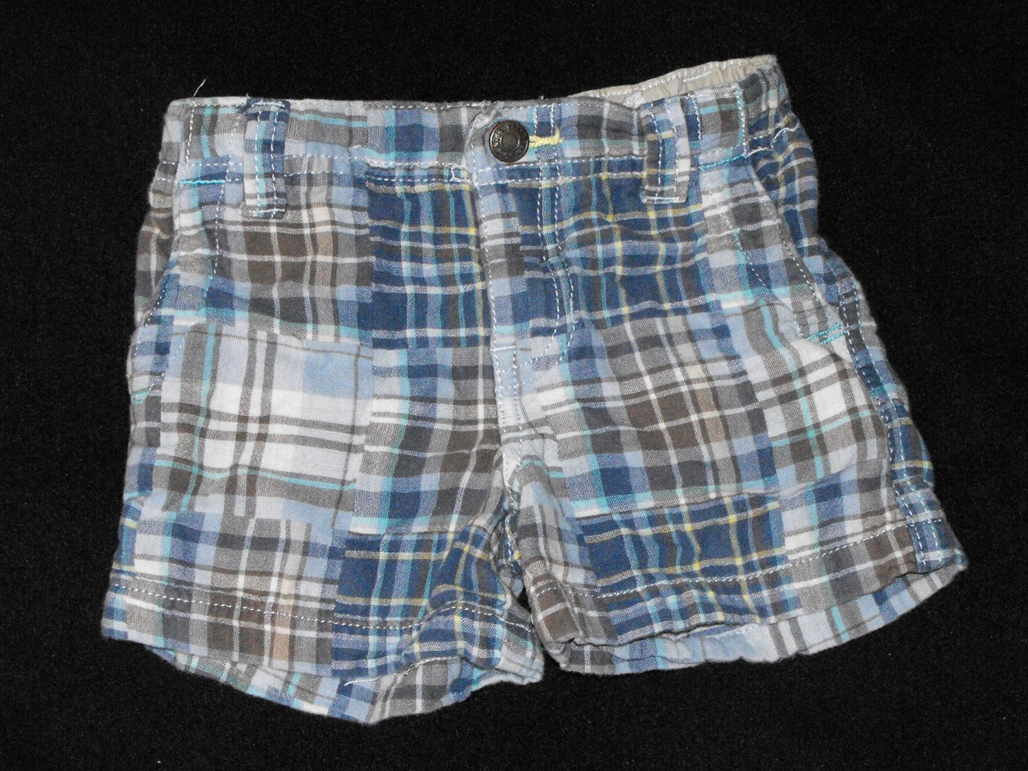 Baby Boys 12 month Genuine Kid Madras Plaid Adjustable Waist Shorts