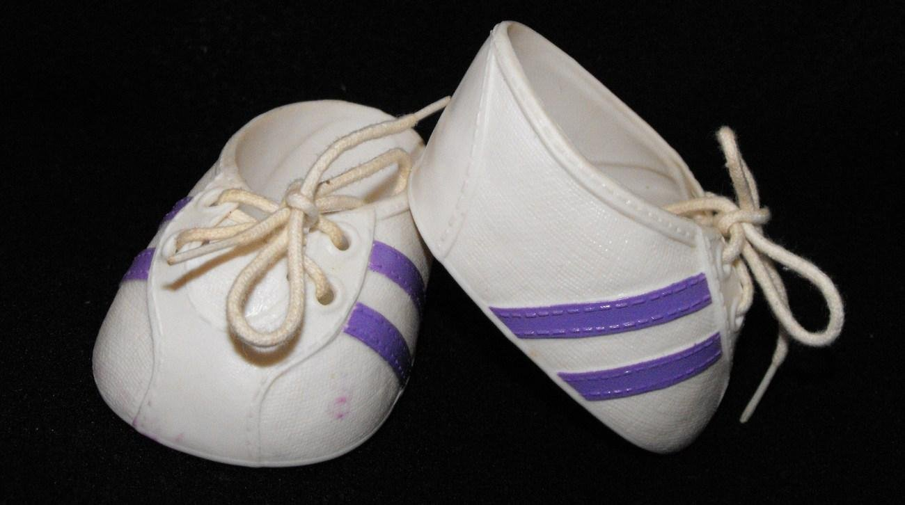 Vintage Cabbage Patch Kids Sneakers / Tennis Shoes White and Purple