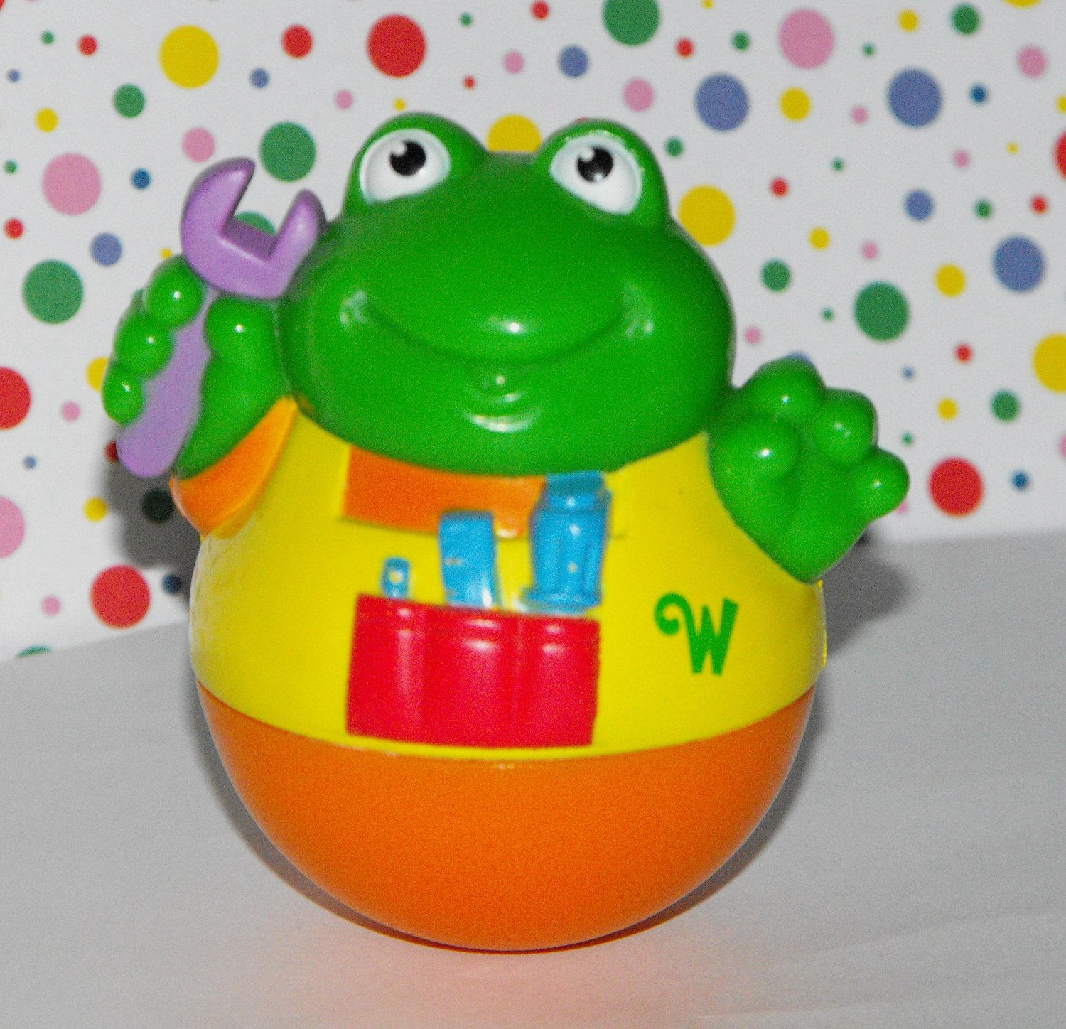 *2/15*SOLD~Playskool Weebles Frog with Overalls and Wrench Tools
