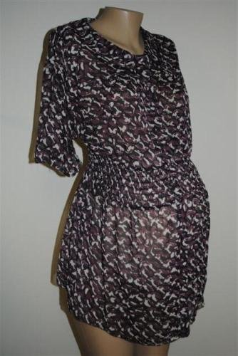 Liz Lange Pretty Maternity Blouse Purple Sheer Fabric Size XL