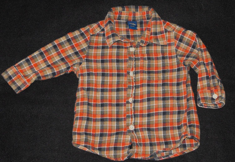 Osh Kosh Baby Boys 18-24 Months Plaid Flannel Button Up Long-Sleeve Shirt