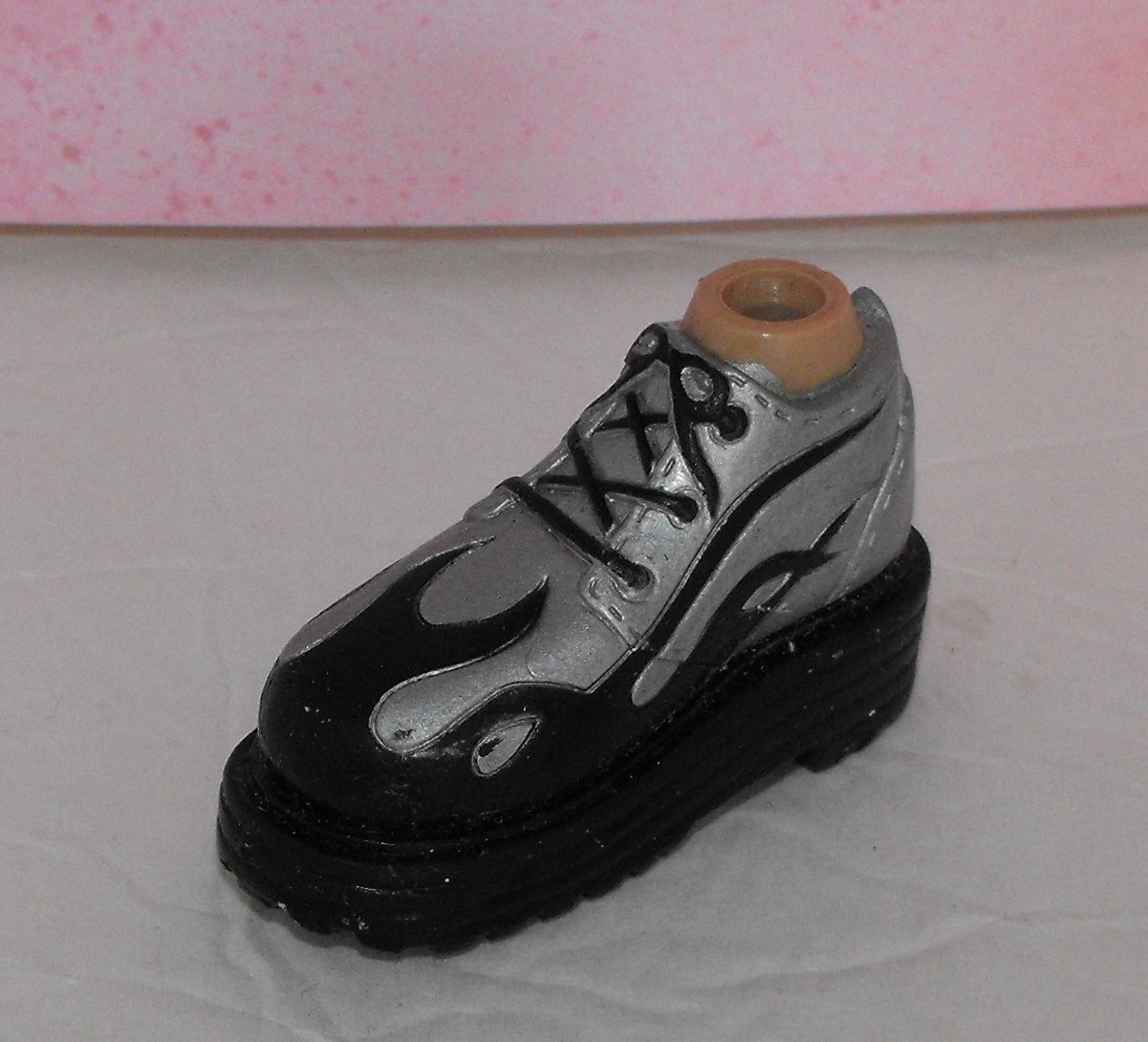 Bratz Boyz Silver Black Flames Shoe Foot Part