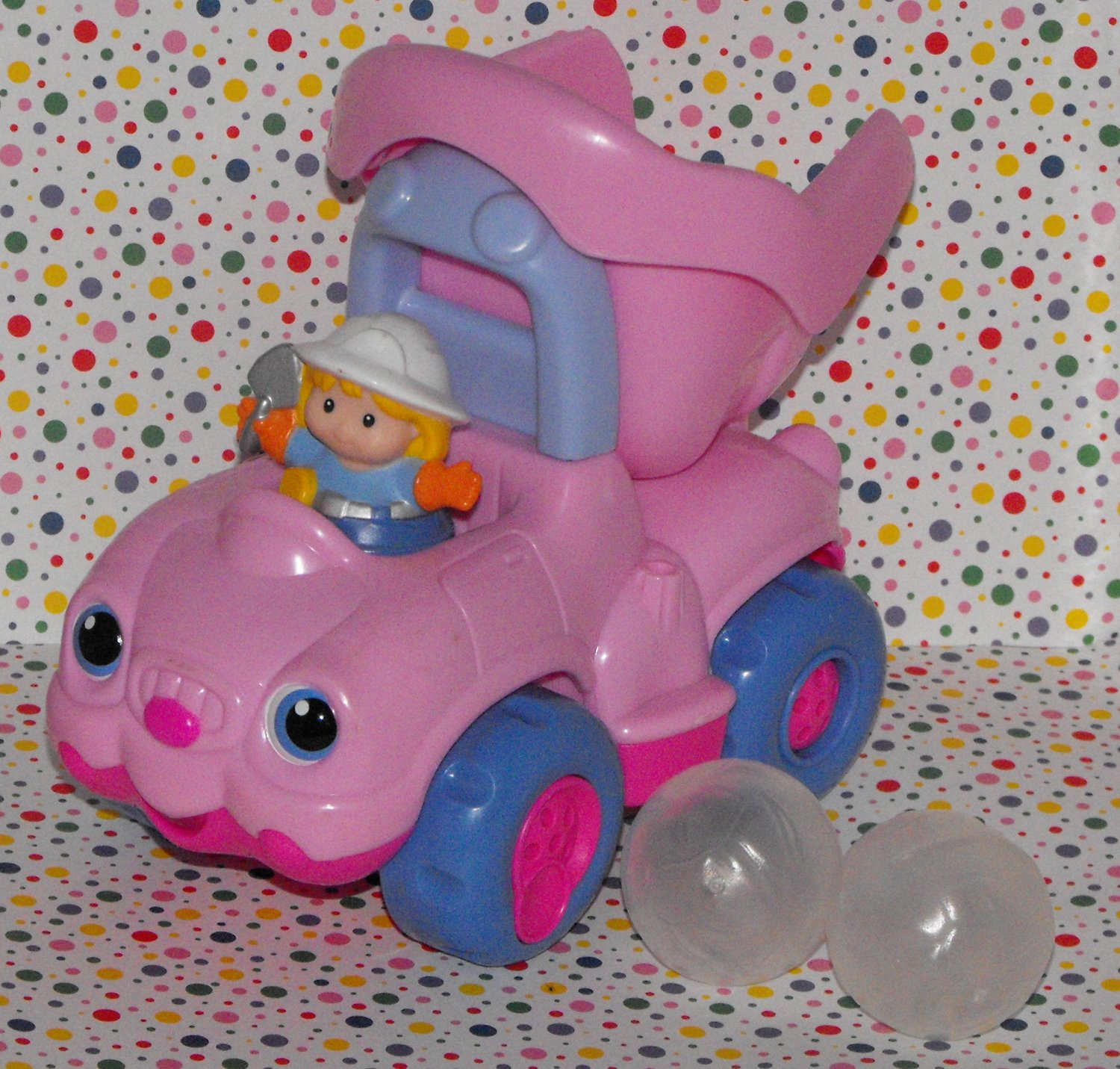 12*SOLD~Fisher Price Little People Pink Girl Dump Truck Construction Vehicle