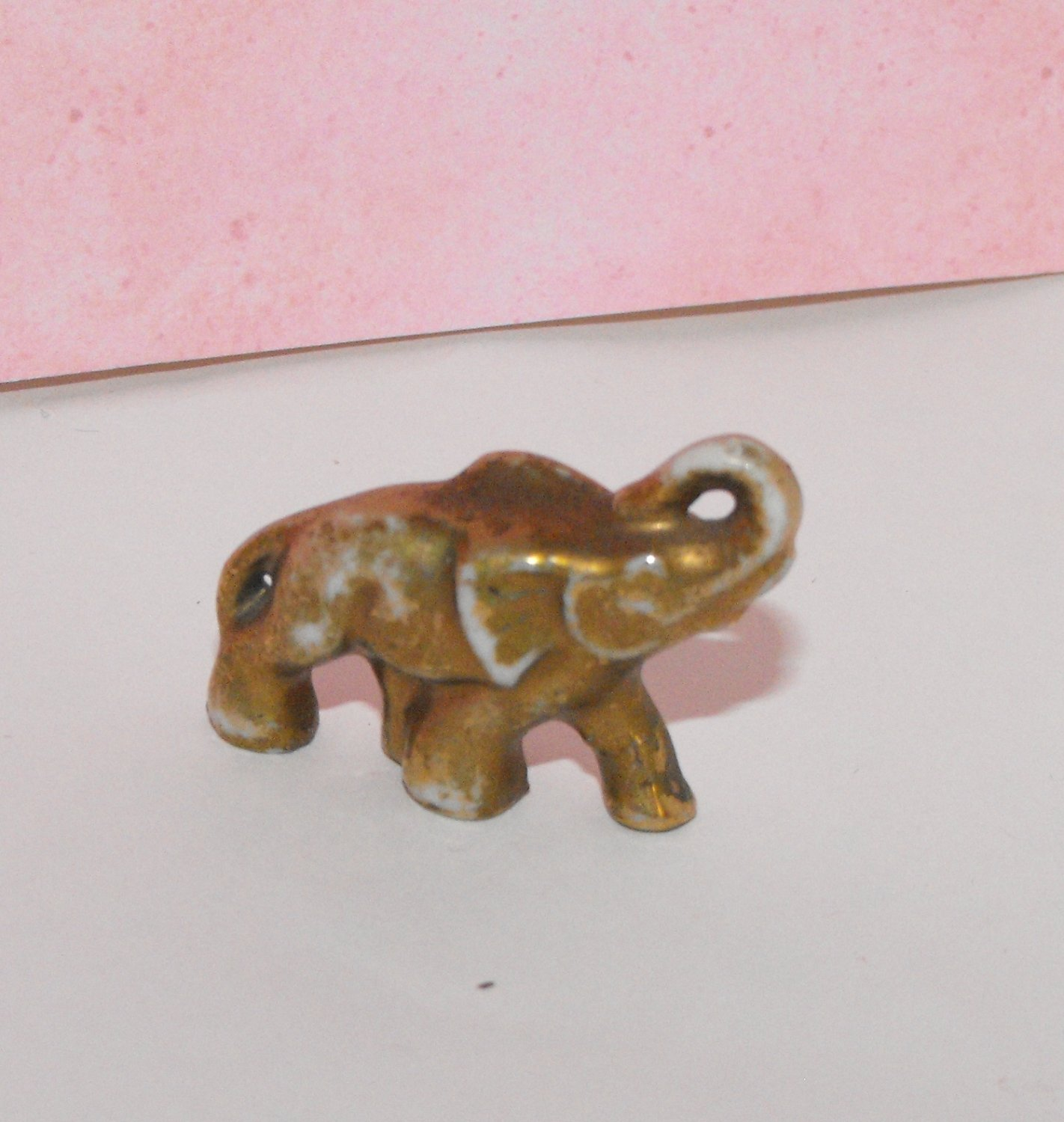 Small Gold Dusted Elephant Figurine Made in Japan
