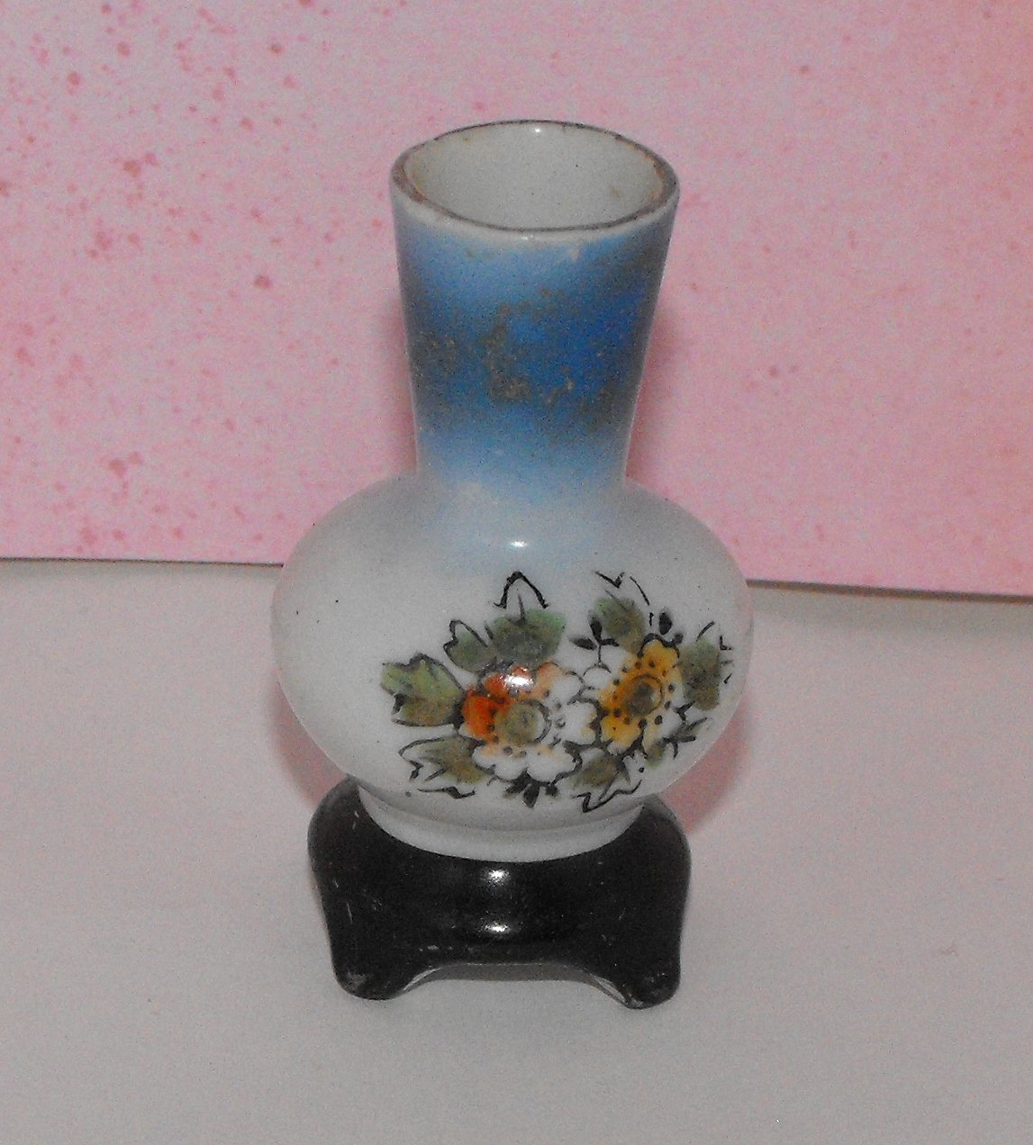 Miniature Vase Blue Floral Made in Occupied Japan