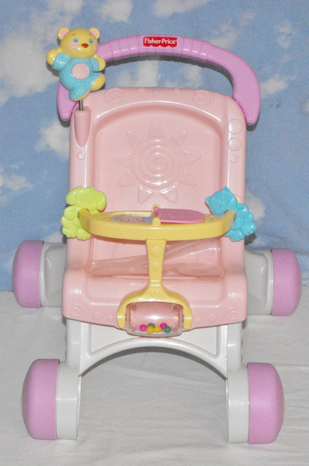 *SOLD~Awaiting Feedback~Fisher Price Brilliant Basics PINK Stroller Styled Walker