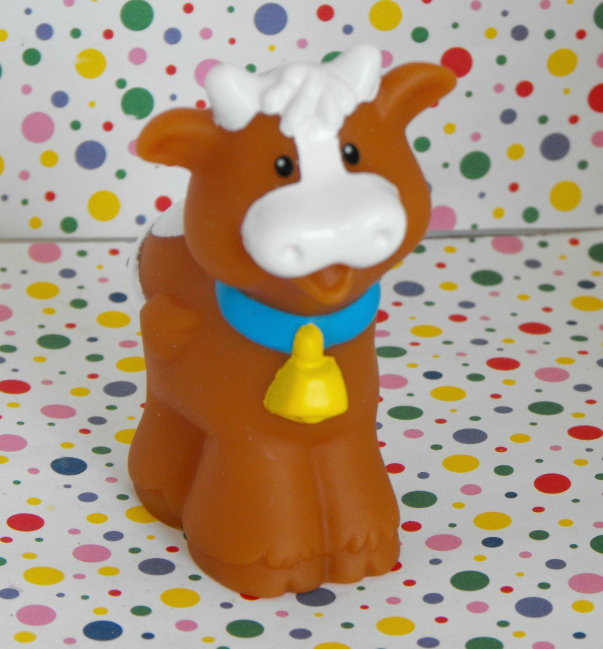 12*SOLD~Fisher Price Little People Farm Brown Cow Bell Part