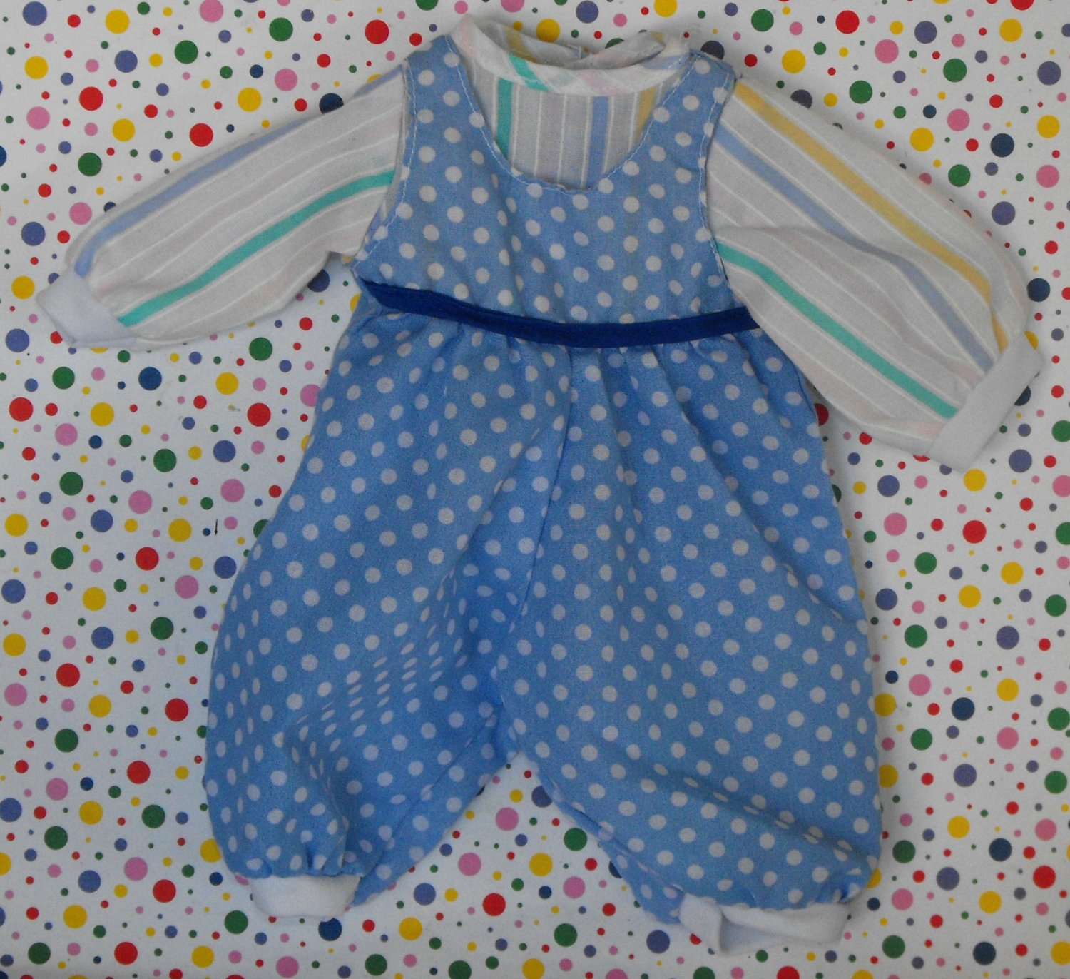 Baby Doll Clothes Blue Polka Dot and Stripe Romper Outfit