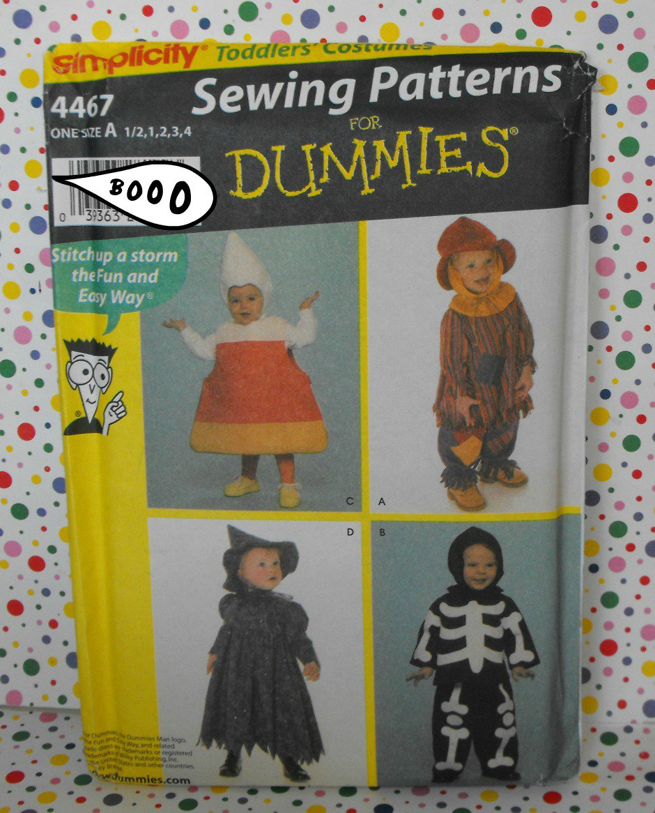 Witch, Skeleton, Candy Corn, Scarecrow Toddler Costume Pattern Simplicity 4467
