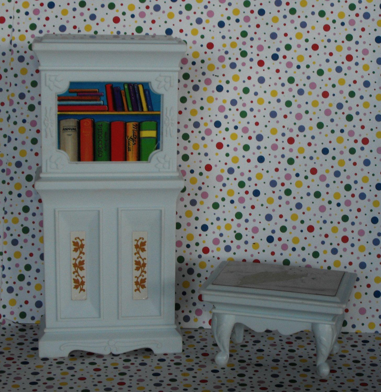 Barbie Blue Box Living Room Bookshelf and End Table Lot Dollhouse Furniture