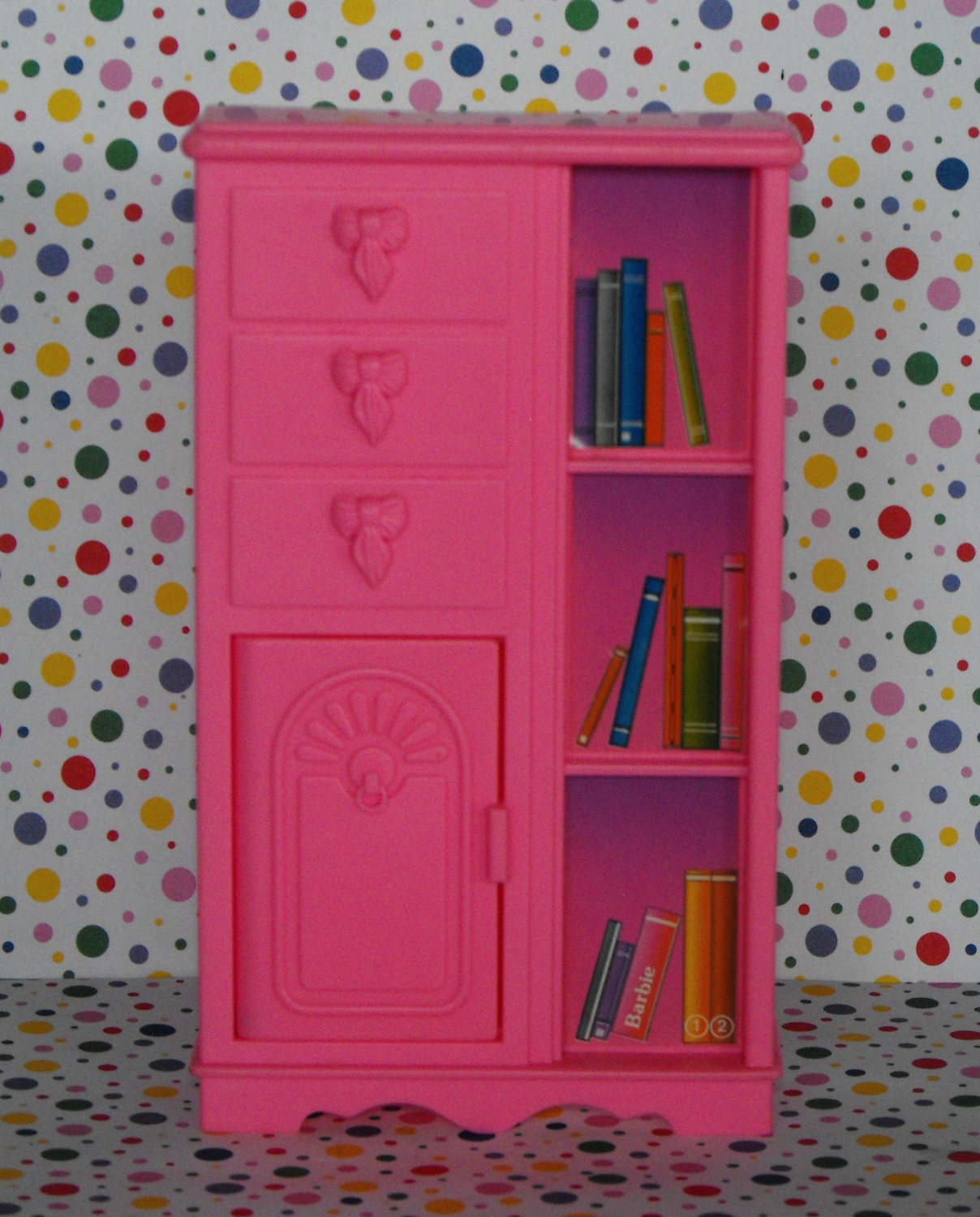 Barbie Pink Bookshelf Bookcase Dollhouse Furniture
