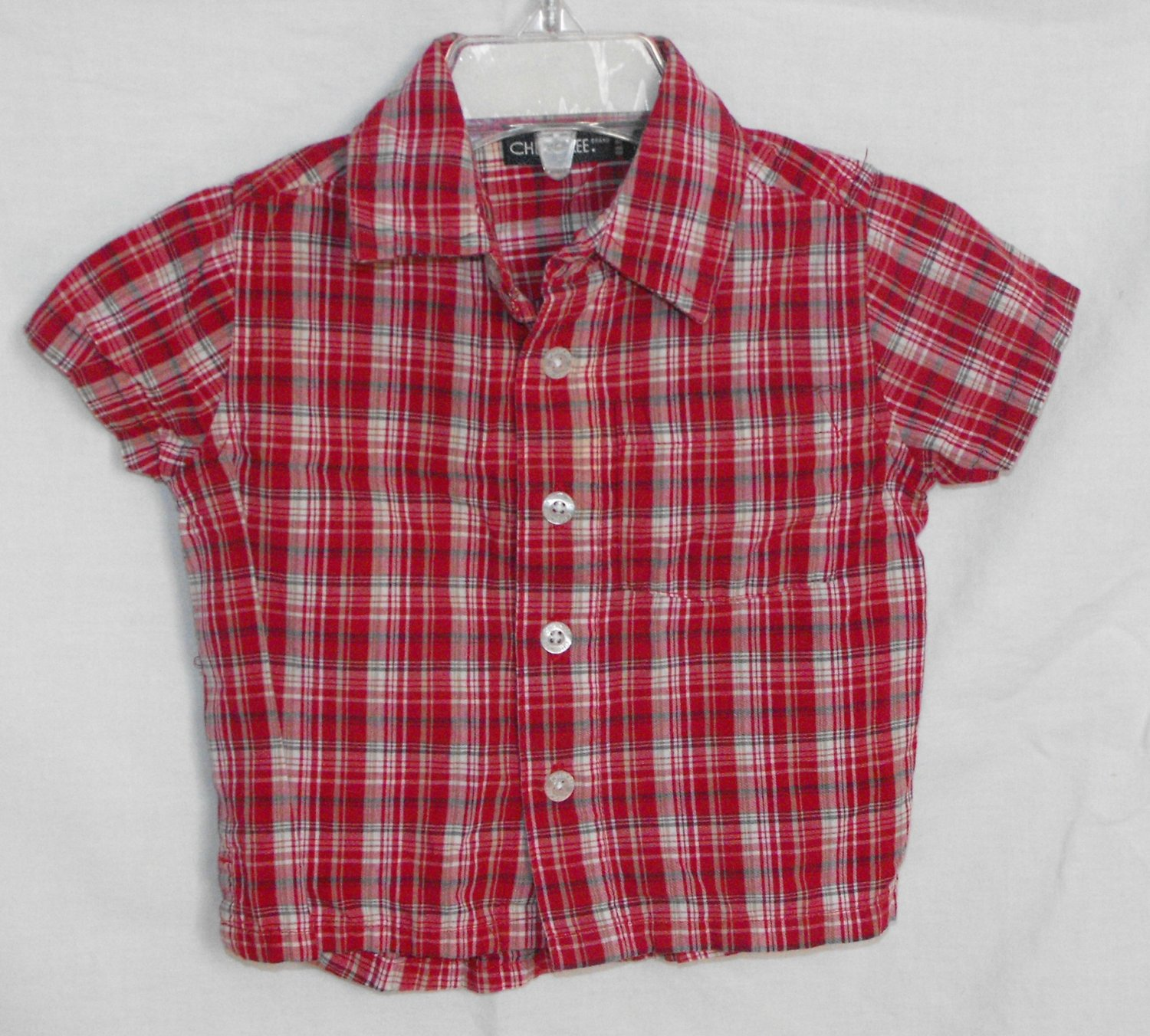 Cherokee Baby Red Plaid Button Up Short Sleeve Shirt 6 Months