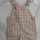 Gymboree Baby Boys 0-3 Month Shortall Overall Bibs Plaid