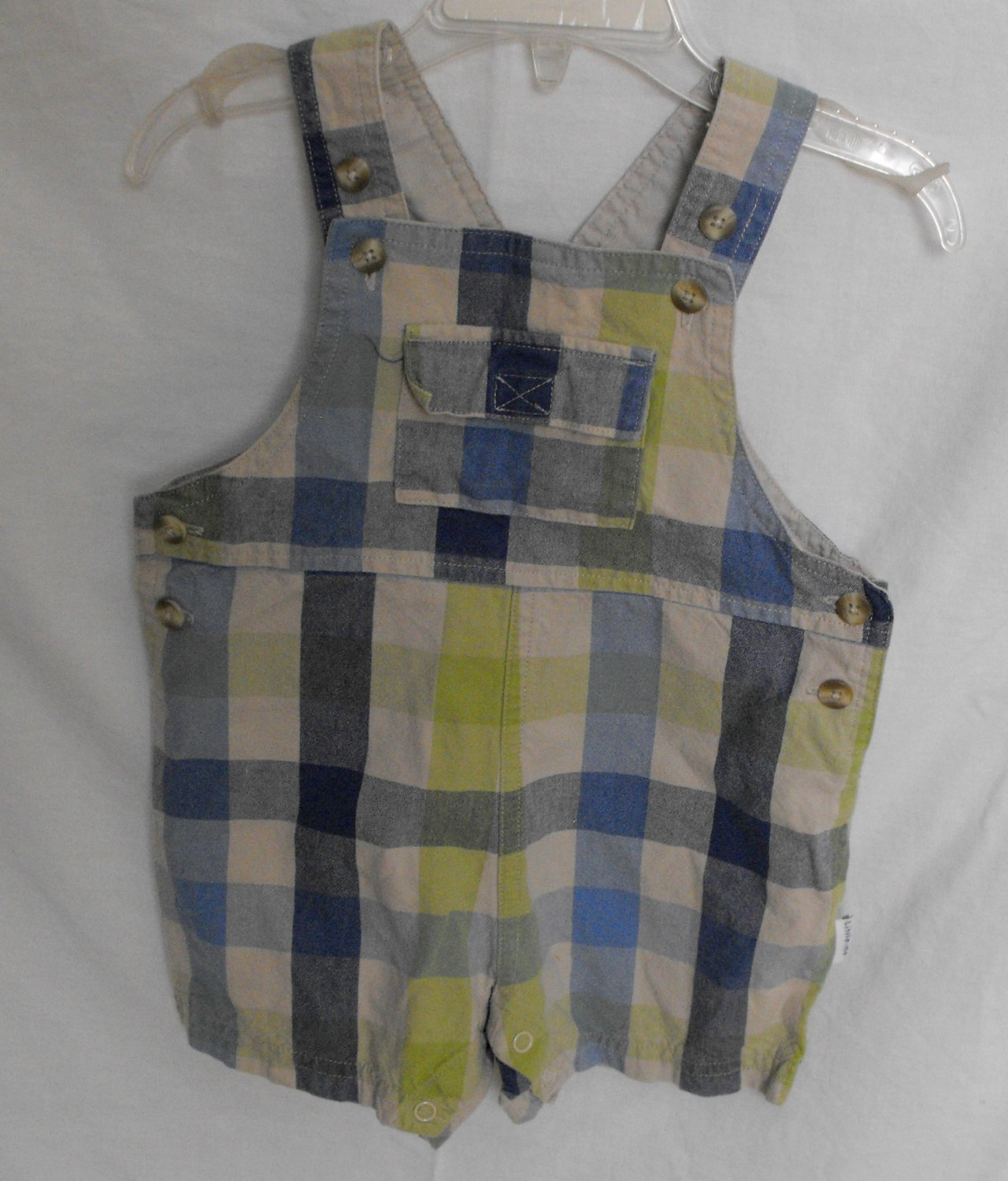 Little Me Baby Boys 12 Months Plaid Shorts Shortall Overalls