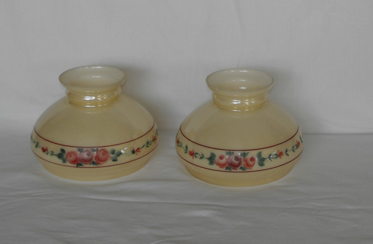 Vintage Antique Glass Student Shades Hand-Painted Gold Luster Hurricane Kerosene Lampshades