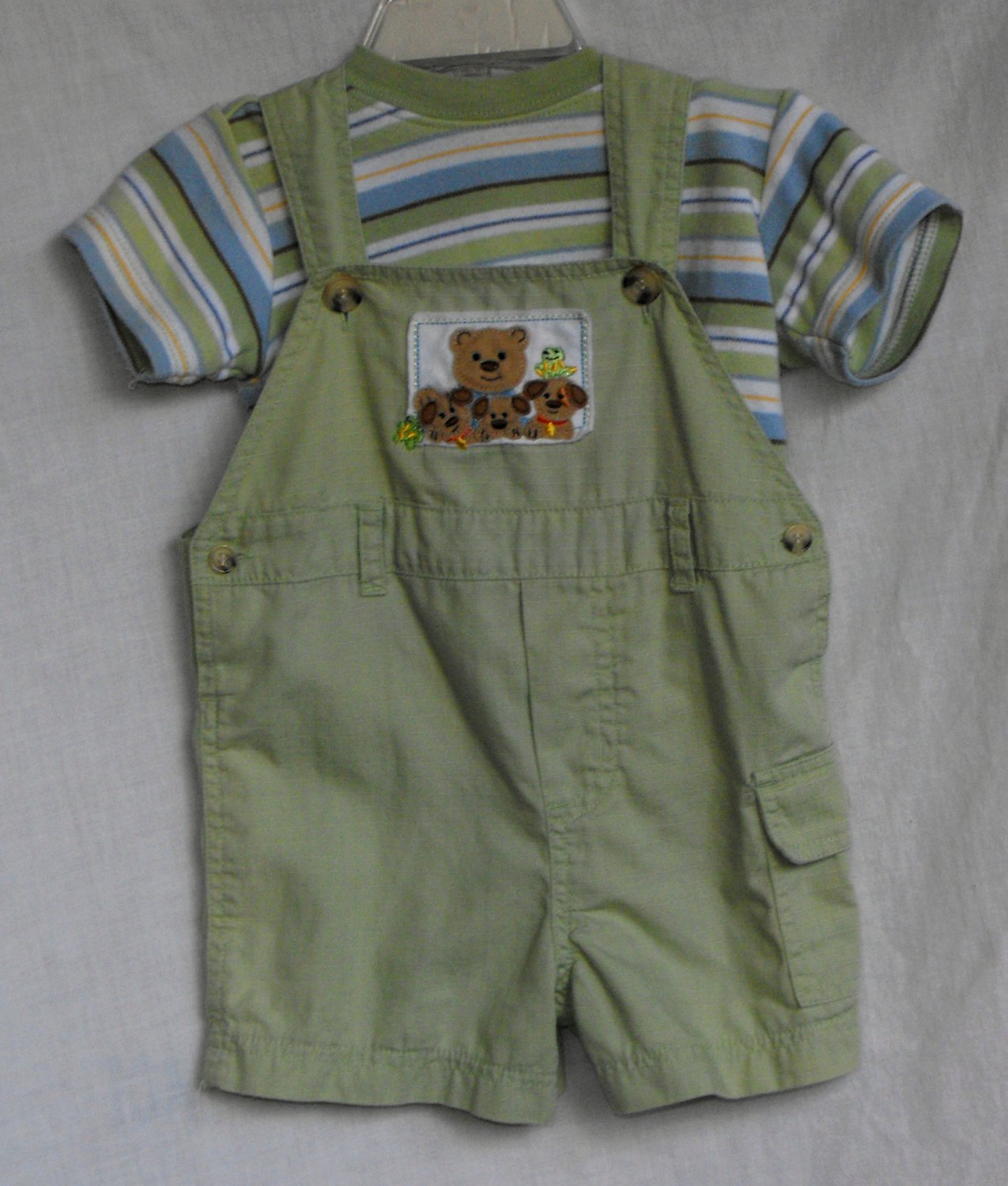 Pete's Partner by Good Lad  6-9 Month Bear 2 Piece Spring Summer Overall Outfit