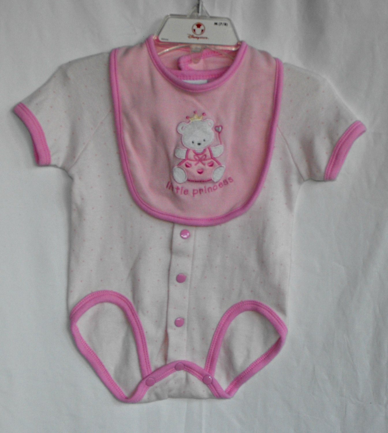 "Bon Bebe ""Little Princess"" Baby Girl 3 6 Months 2 Peice Onesie and Bib"