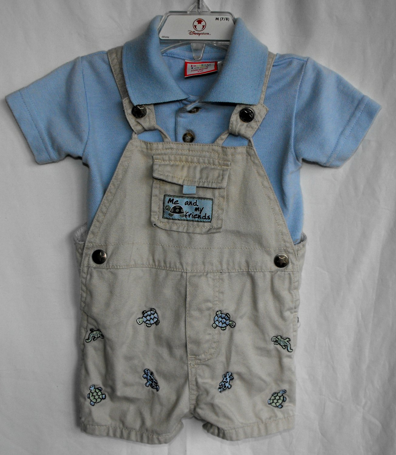 Baby Togs 6-9 Month 2 Piece Overall Shortalls Outfit