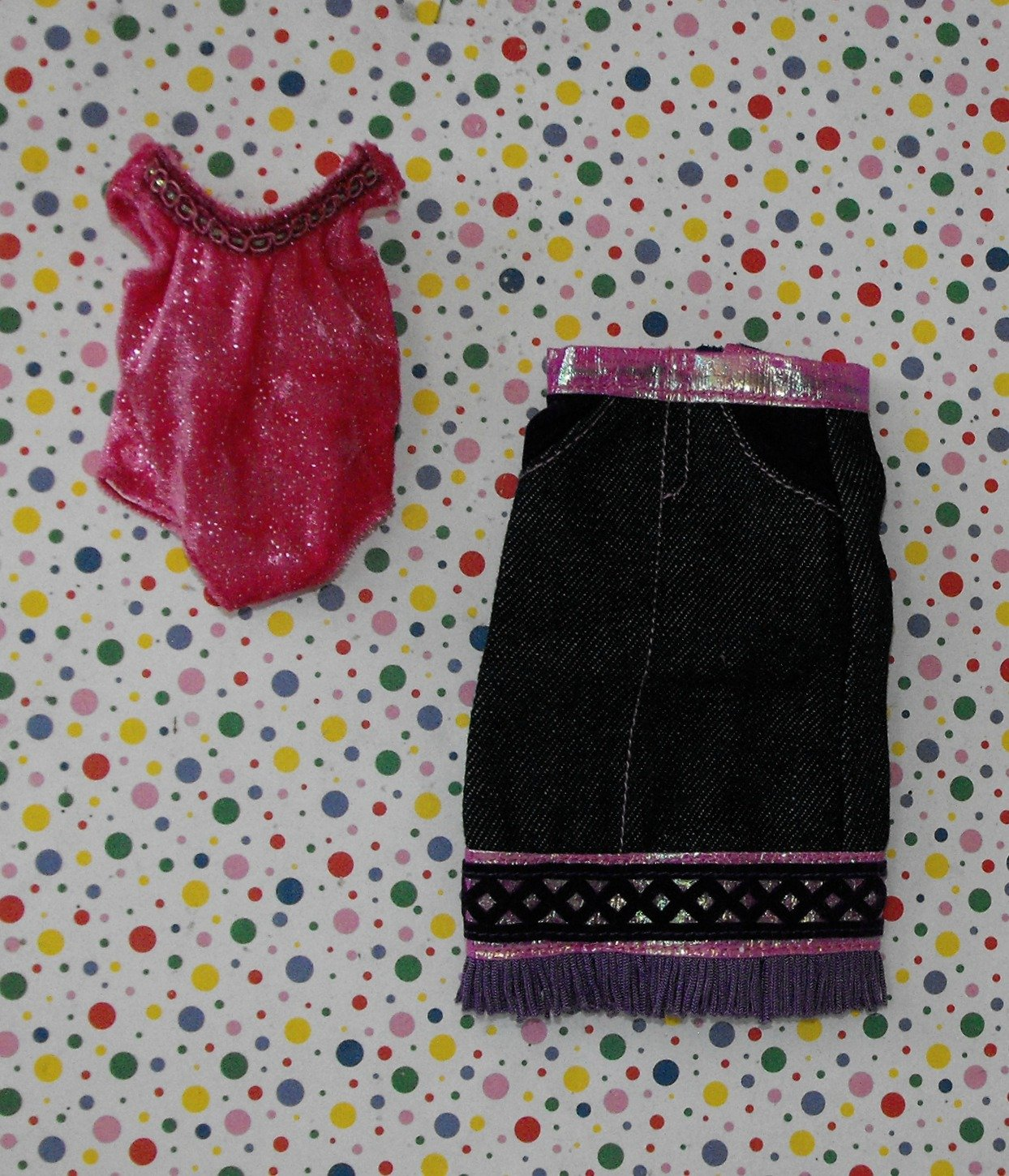 Groovy Girls Doll Clothes Pink Leotard Pink Fringe Skirt Lot