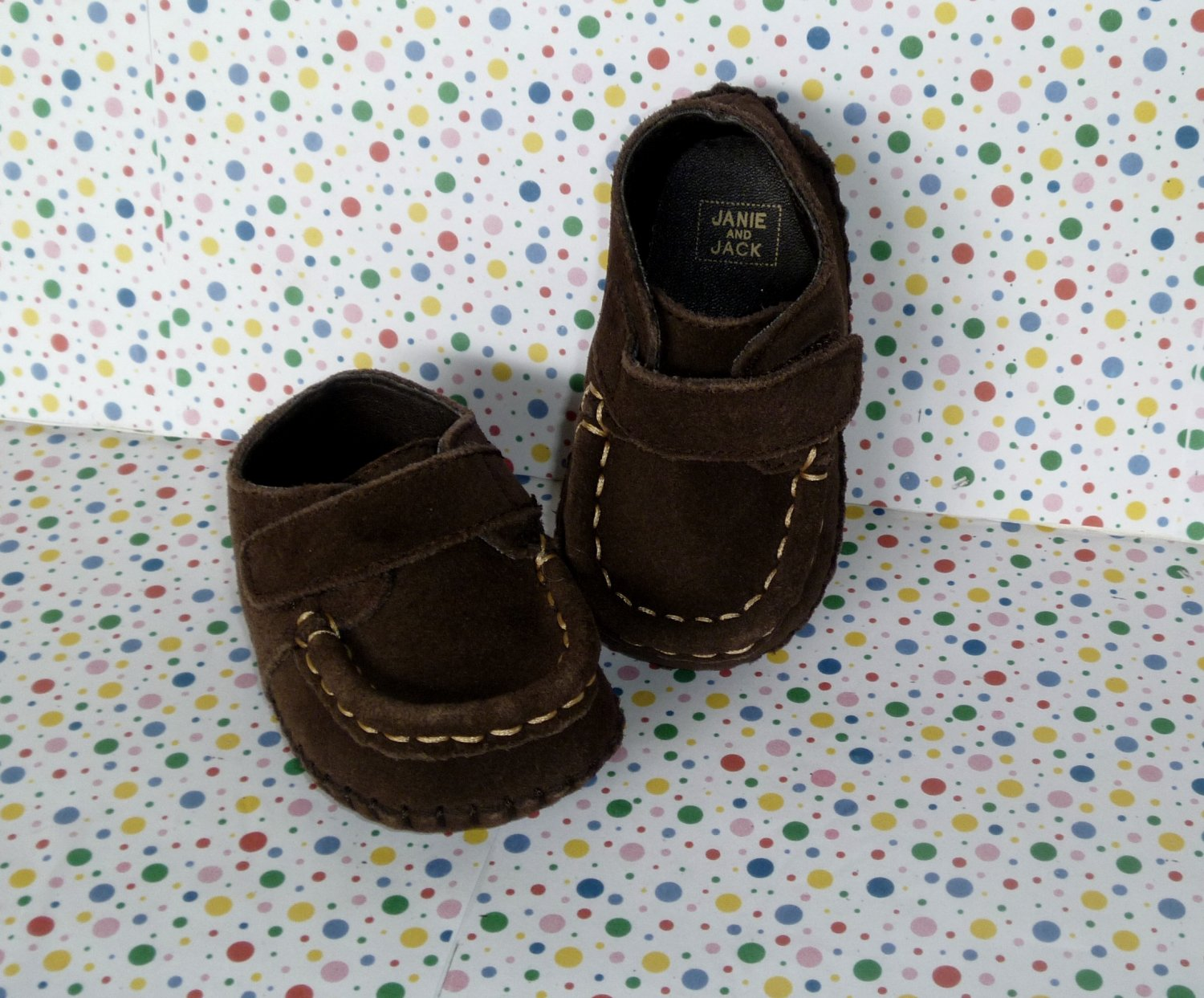 Janie and Jack Brown Moccasin Style Shoes Baby Boy Size 3
