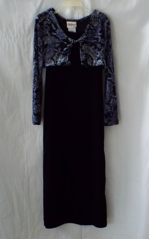 Rose Cottage Black Dress and Bolero Girls Size 8