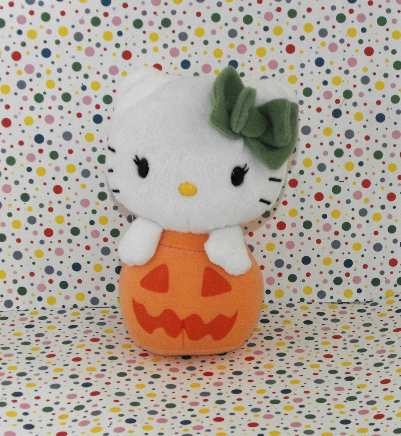 Hello Kitty Halloween Orange Pumpkin Jack O' Lantern Beanie Plush