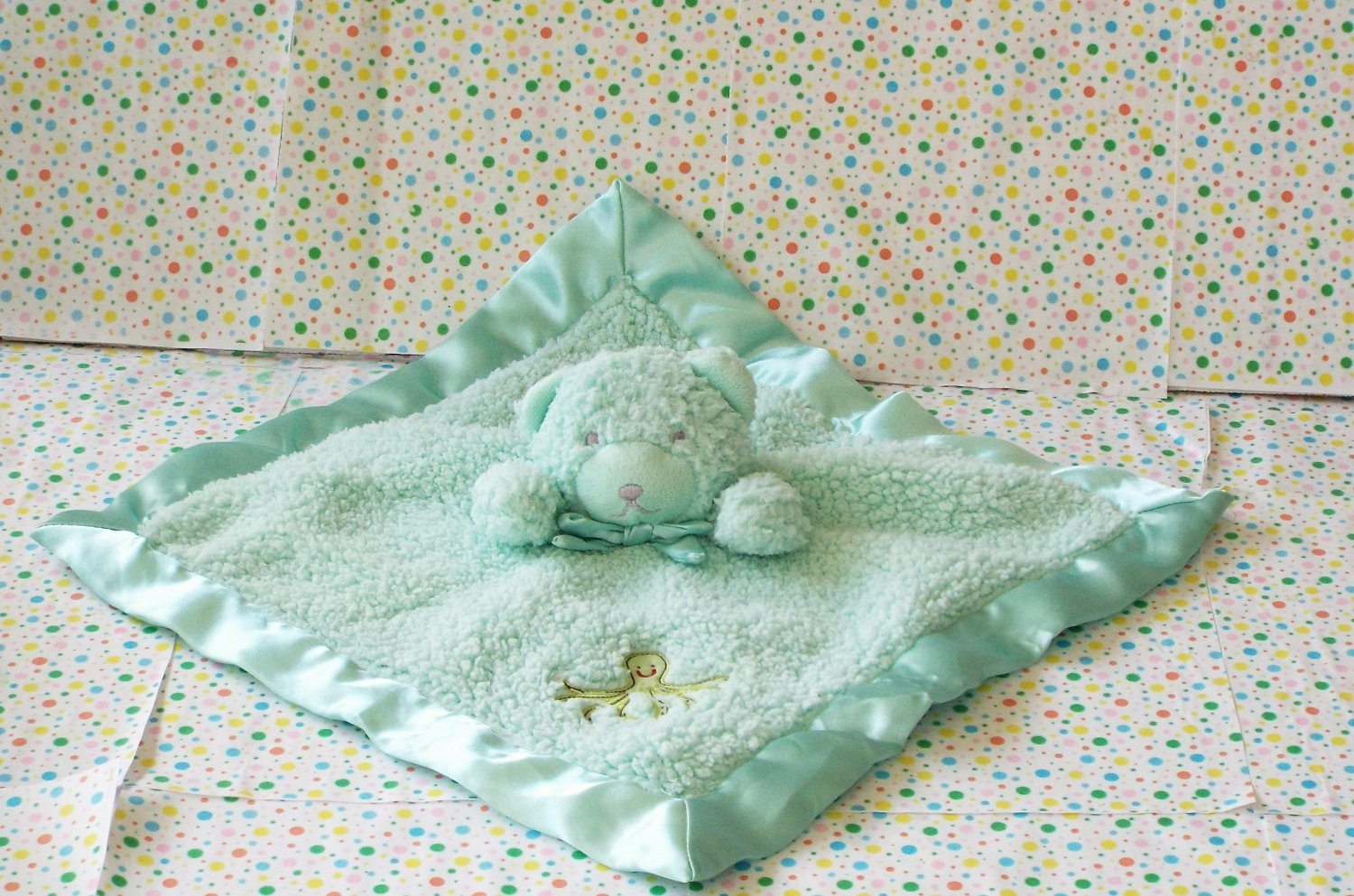 *9/17*SOLD~Tiddliwinks Bear Security Blanket Green Octopus Under Sea Lovey