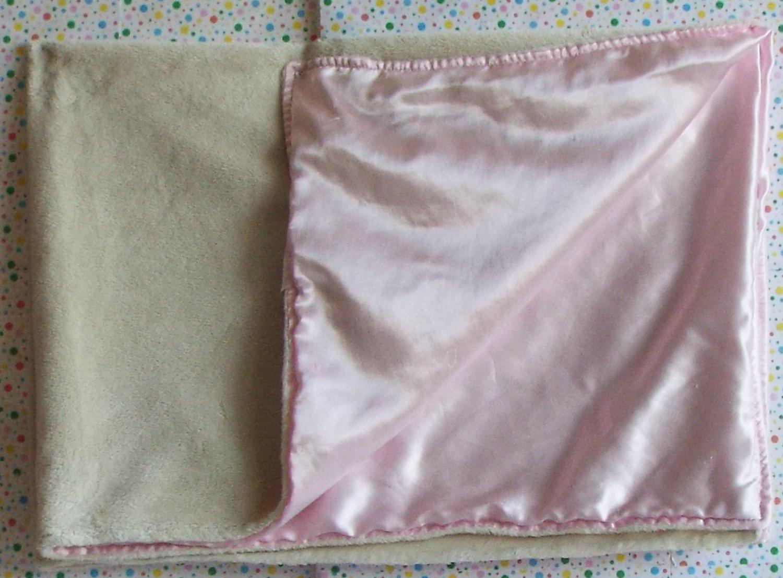 Wamsutta Baby Pink Satin Cream Security Blanket Lovey