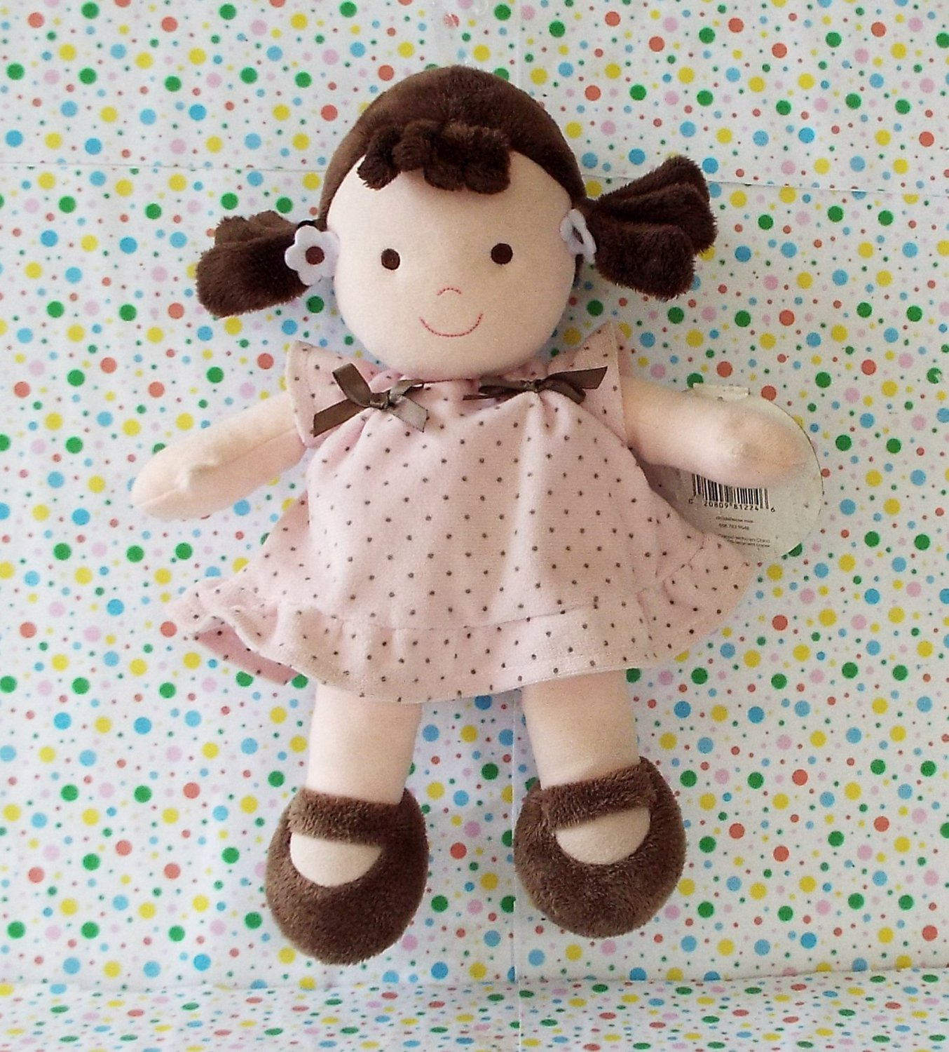 *12/16*SOLD~Carter's My First Doll Pink Brown Polka Dot Rattle Lovey