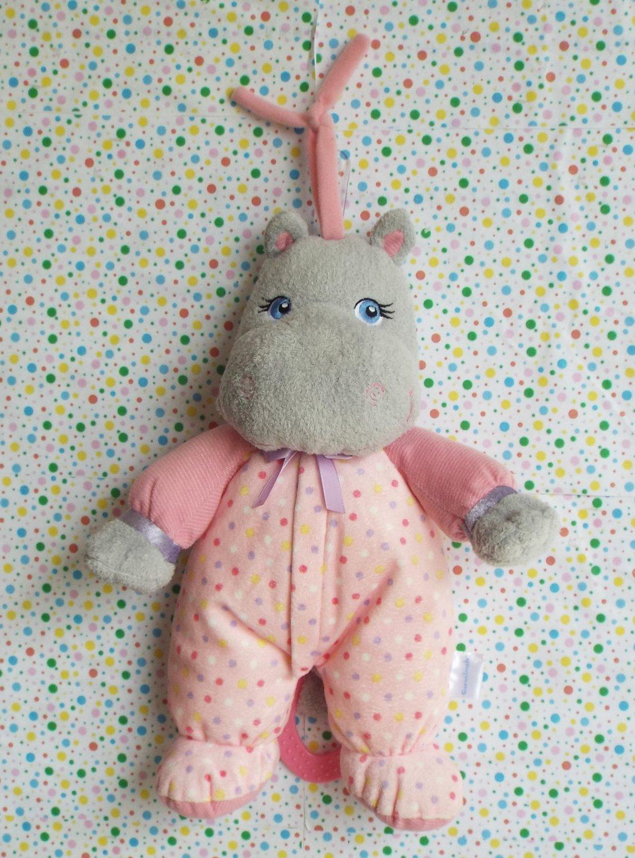 *9/15*SOLD~Garanimals Pink Hippo Pull String Musical Plush Crib Toy