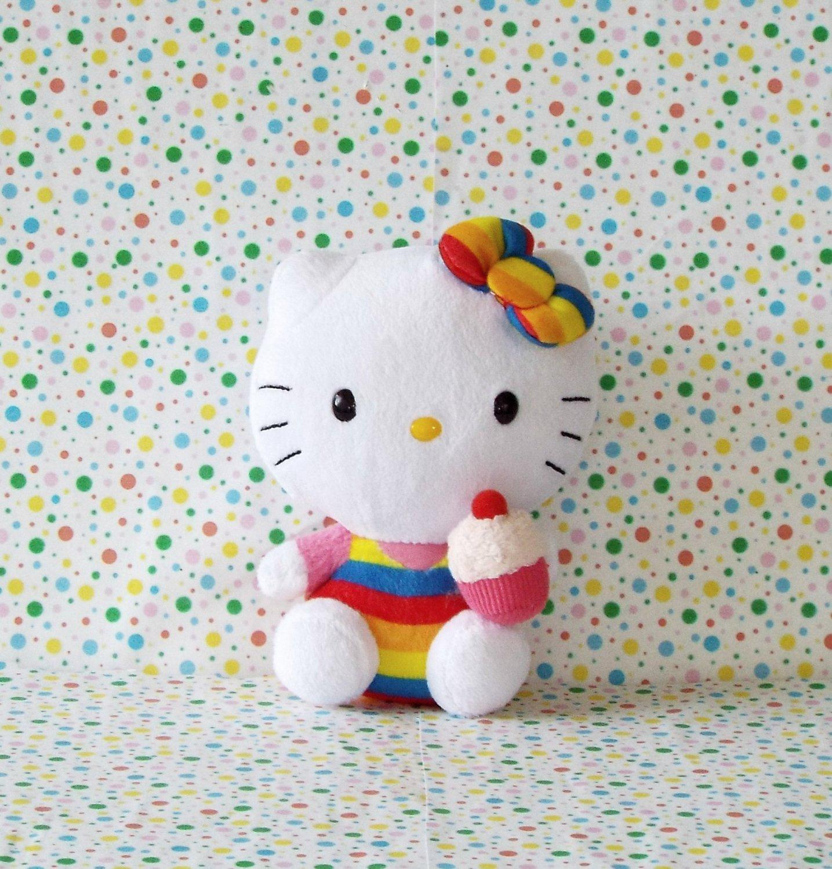 Hello Kitty Rainbow Cupcake Ty Beanie Baby