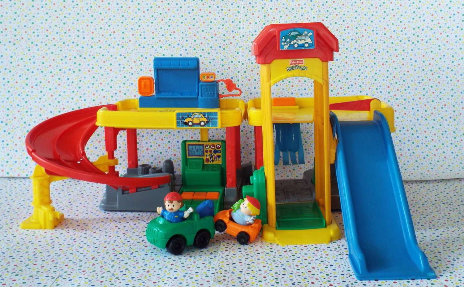 5 16 sold fisher price little people ramps around garage. Black Bedroom Furniture Sets. Home Design Ideas