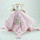 Carter's Love Is My Little Bear Pink Security Blanket Rattle Pink Satin
