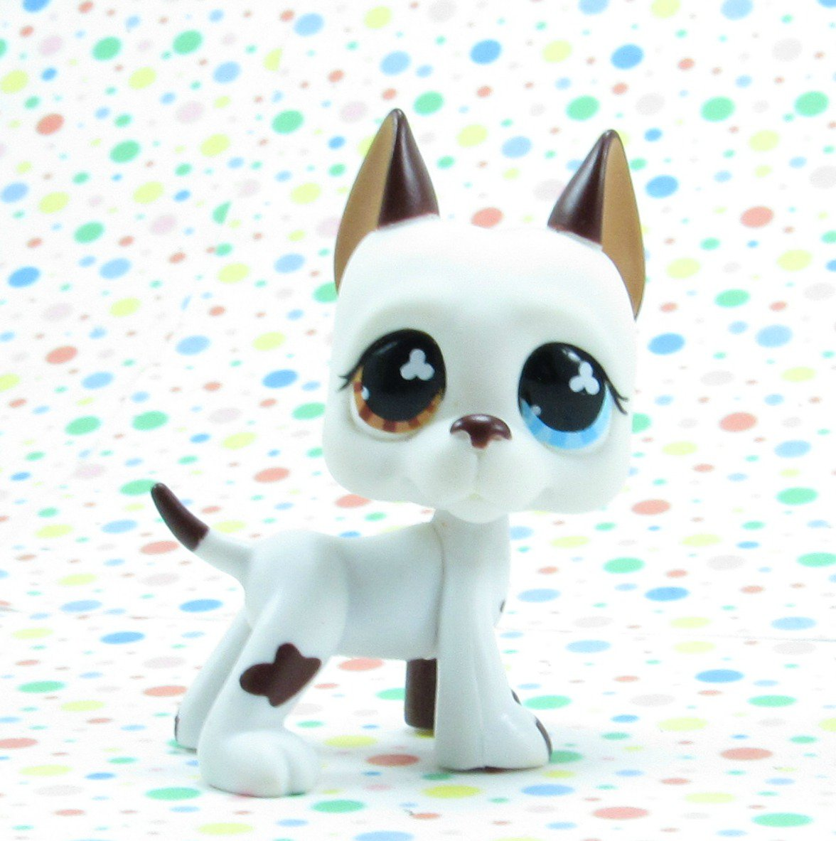 Littlest Pet Shop #577 Brown and White Great Dane Dog ~ LPS Singles